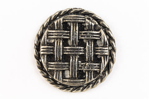 21mm Antique Silver Pewter Basketweave Button #BUT068-General Bead