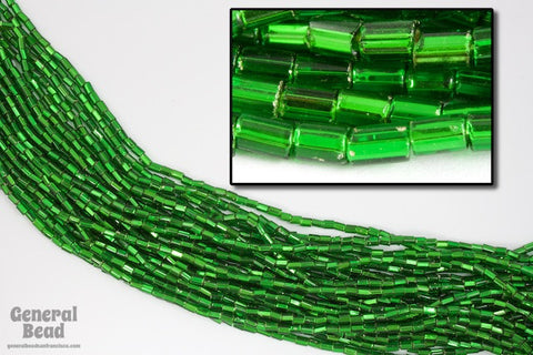 Size 1 Silver Lined Green Bugle (10 Gm, Hank, 1/2 Kilo) #CBA009-General Bead