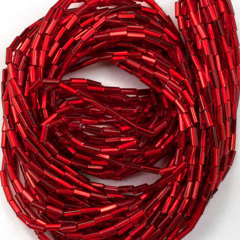 Size 2 Silver Lined Red Bugle (10 Gm, Hank, 1/2 Kilo) #CBB009-General Bead