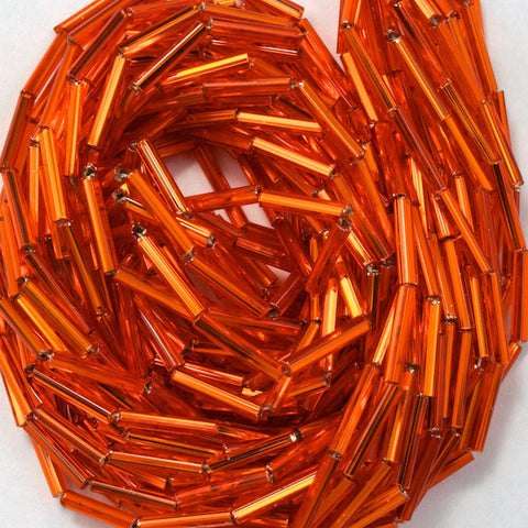 Size 5 Silver Lined Orange Bugle (10 Gm, Hank, 1/2 Kilo) #CBE009-General Bead