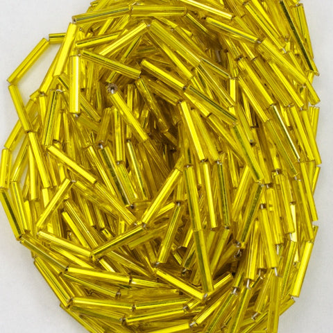 Size 5 Silver Lined Yellow Bugle (10 Gm, Hank, 1/2 Kilo) #CBE013-General Bead