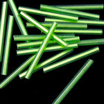 25mm Silver Lined Lime Bugle (10 Gm, 40 Gm, 1/2 Kilo) #CBF011-General Bead