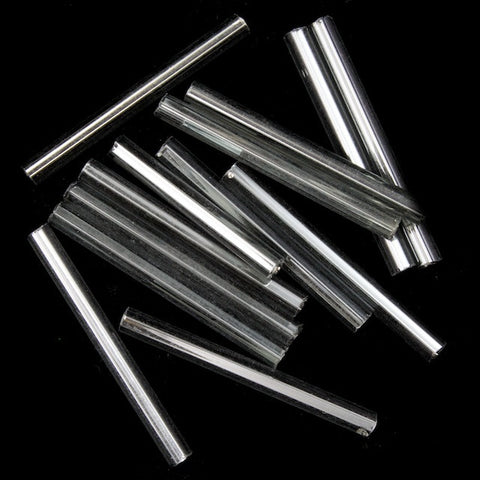 25mm Silver Lined Black Diamond Bugle (40 Gm) #CBF029
