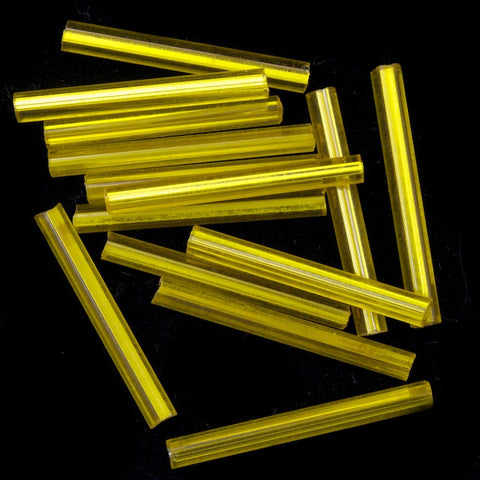20mm Silver Lined Yellow Bugle (10 Gm, 40 Gm, 1/2 Kilo) #CBI012-General Bead