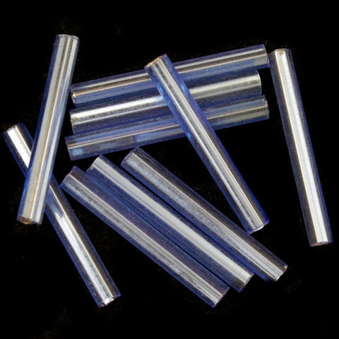20mm Silver Lined Light Sapphire Bugle (10 Gm, 40 Gm, 1/2 Kilo) #CBI019-General Bead