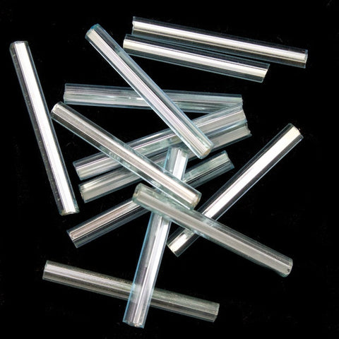 20mm Silver Lined Ice Blue Bugle (10 Gm, 40 Gm, 1/2 Kilo) #CBI024