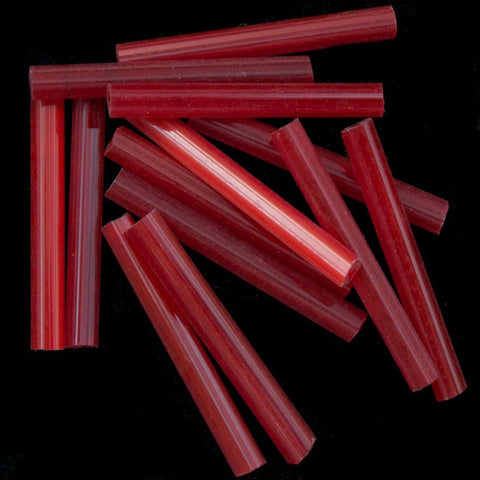 20mm Satin Red Bugle (10 Gm, 40 Gm, 1/2 Kilo) #CBI027-General Bead