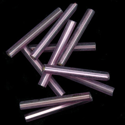 20mm Silver Lined Plum Bugle (10 Gm, 40 Gm, 1/2 Kilo) #CBI029