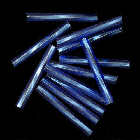 20mm Silver Lined Light Sapphire Twist Bugle (10 Gm, 40 Gm, 1/2 Kilo) #CBP003-General Bead