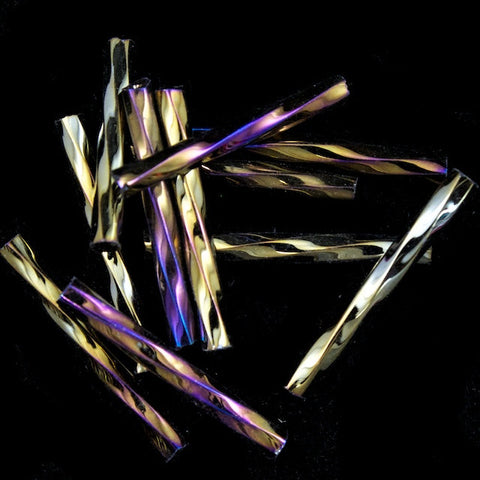20mm Metallic Brown Iris Twist Bugle (10 Gm, 40 Gm, 1/2 Kilo) #CBP012-General Bead