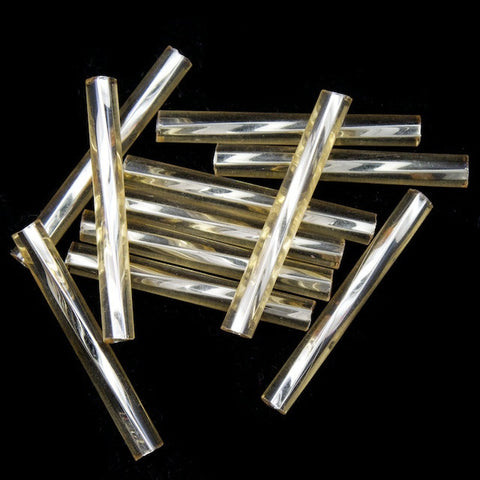 20mm Silver Lined Light Topaz Twist Bugle (10 Gm, 40 Gm, 1/2 Kilo) #CBP013-General Bead