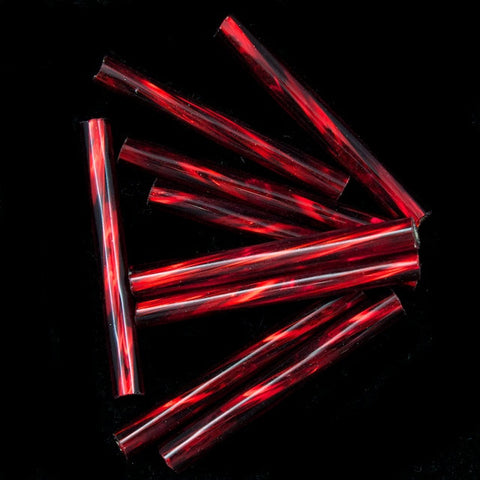 20mm Silver Lined Red Twist Bugle (10 Gm, 40 Gm, 1/2 Kilo) #CBP016-General Bead