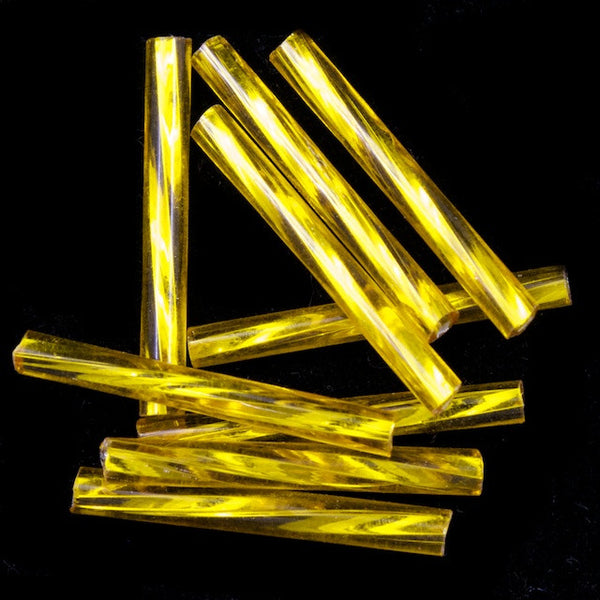 20mm Silver Lined Yellow Twist Bugle (10 Gm, 40 Gm, 1/2 Kilo) #CBP021