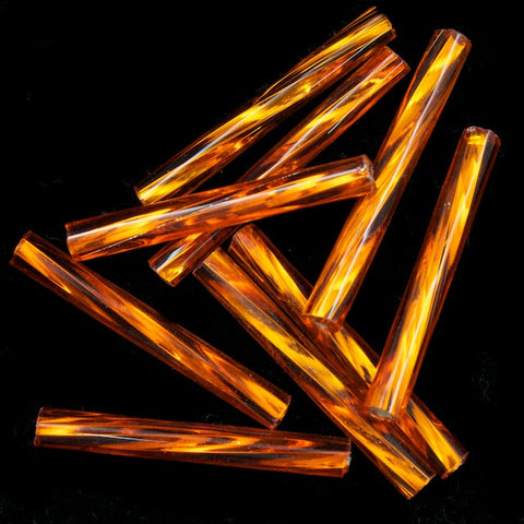 20mm Silver Lined Orange Twist Bugle (10 Gm, 40 Gm, 1/2 Kilo) #CBP023-General Bead