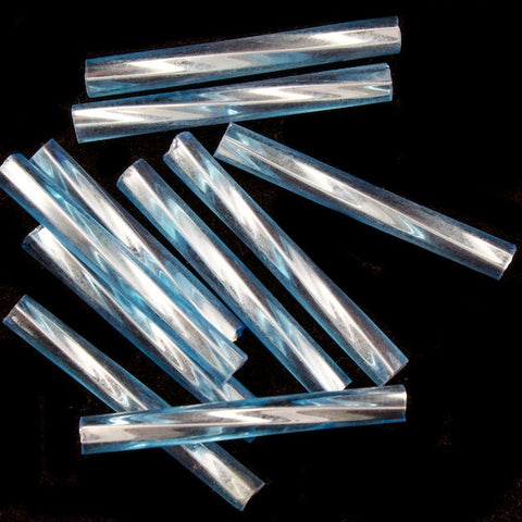 20mm Silver Lined Aqua Twist Bugle (10 Gm, 40 Gm, 1/2 Kilo) #CBP024-General Bead