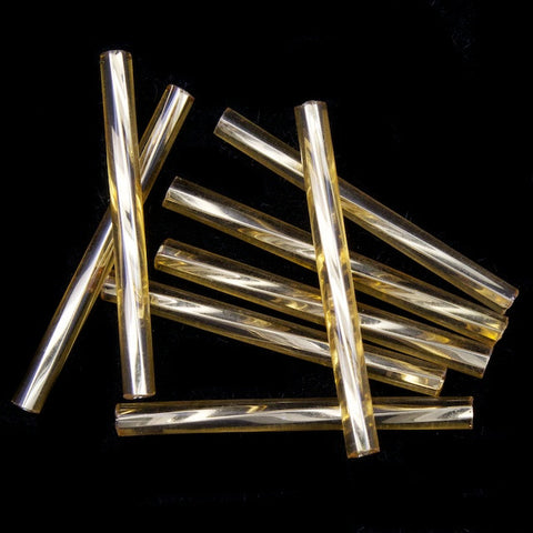 25mm Silver Lined Light Topaz Twist Bugle (40 Gm) #CBQ003
