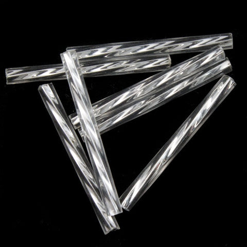 25mm Silver Lined Silver Twist Bugle (10 Gm, 40 Gm, 1/2 Kilo) #CBQ008-General Bead