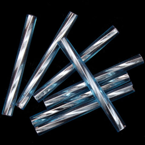 25mm Silver Lined Aqua Twist Bugle (40 Gm) #CBQ009