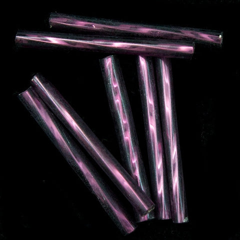25mm Silver Lined Amethyst Twist Bugle (40 Gm) #CBQ011
