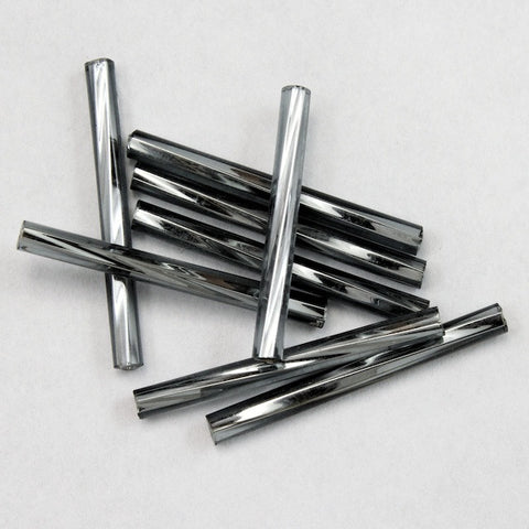 25mm Silver Lined Black Diamond Twist Bugle (10 Gm, 40 Gm, 1/2 Kilo) #CBQ014-General Bead