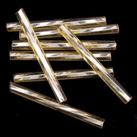 25mm Silver Lined Light Gold Twist Bugle (40 Gm) #CBQ019