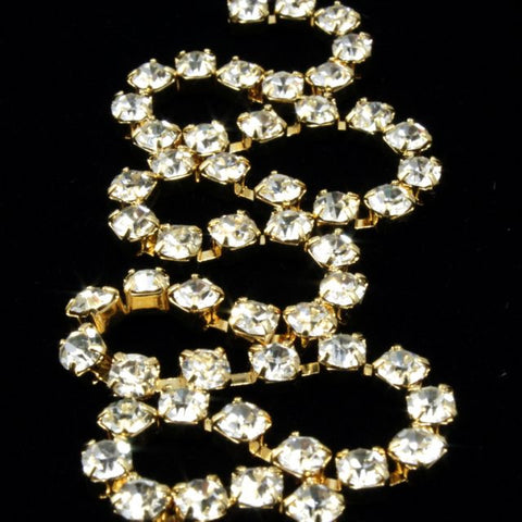 2mm Preciosa Rhinestone Chain Crystal/Gold #CC98
