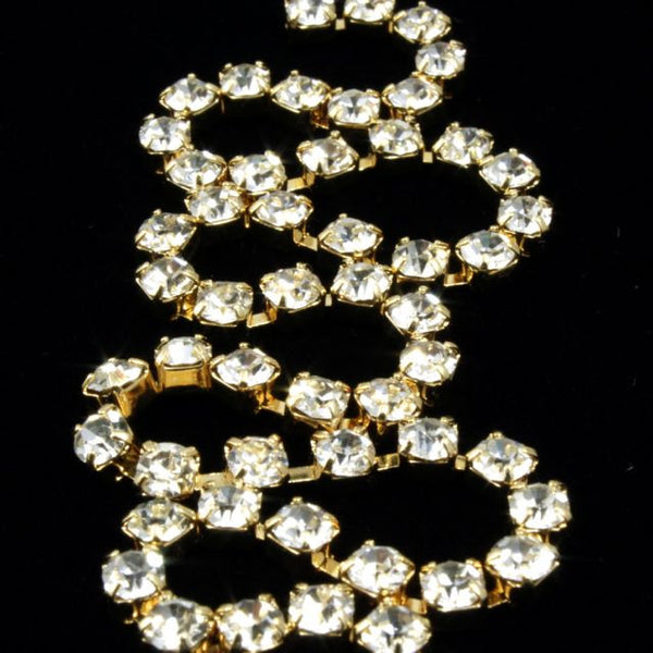 3mm Preciosa Rhinestone Chain Crystal/Gold #CC42