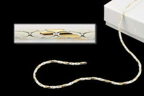 1.25mm White/Gold Two Tone Beading Chain CC132