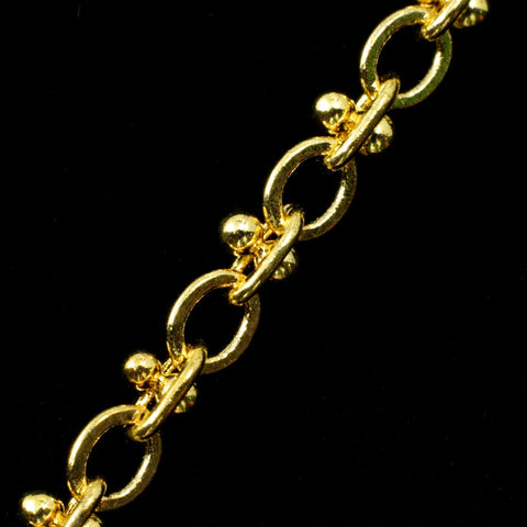 Bright Gold 3.5mm x 2.4mm Dotted Oval Chain CC156-General Bead