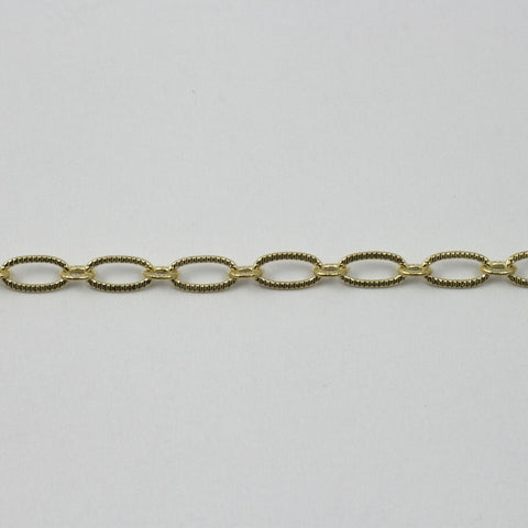 Bright Gold 6.4mm x 3mm Textured Oval Chain CC174-General Bead