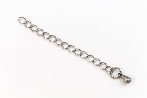 3mm Stainless Steel Curb Extender 2 Inch Chain with 2mm Pendant #CCA184-General Bead