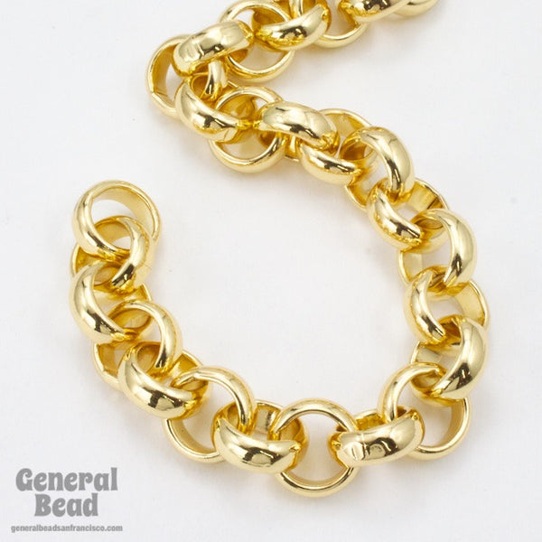 11mm Bright Gold Rolo Chain CC230