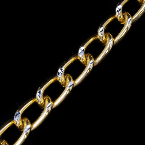 10mm Gold/Silver Diamond Cut Aluminum Curb Chain #CC23