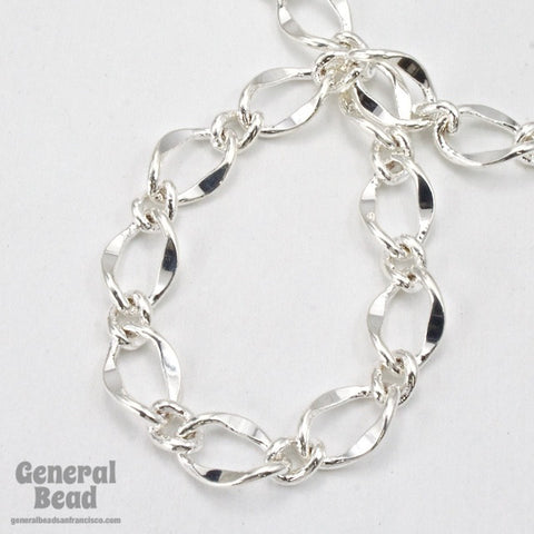 11mm x 7.4mm Bright Silver Figaro Chain CC201-General Bead