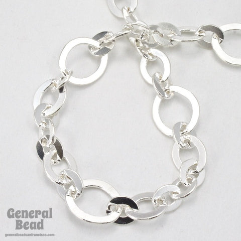 11mm x 10mm Bright Silver Fancy Cable Chain CC202-General Bead