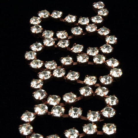 2mm Preciosa Rhinestone Chain Crystal/Antique Copper #CC98
