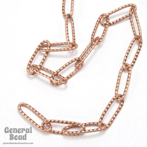 15mm x 5mm Antique Copper Textured Oval Cable Chain CC254-General Bead
