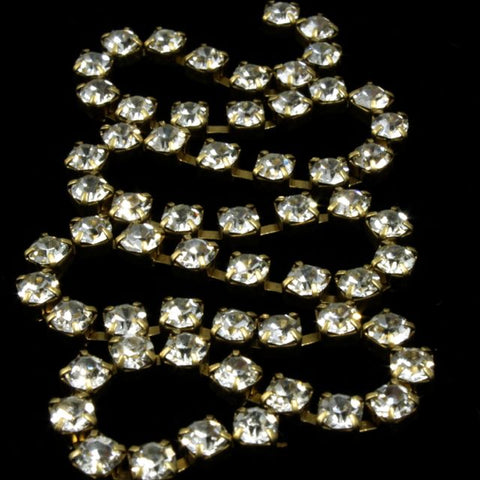 2mm Preciosa Rhinestone Chain Crystal/Antique Brass #CC98