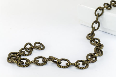 8mm x 6.5mm Antique Brass Textured Cable Chain CC94-General Bead