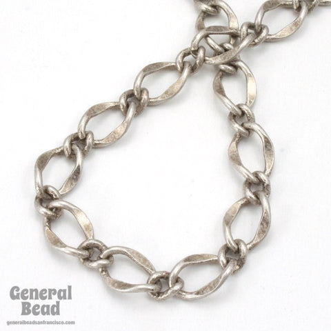 11mm x 7.4mm Antique Silver Figaro Chain CC201