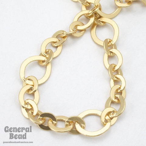 11mm x 10mm Matte Gold Fancy Cable Chain