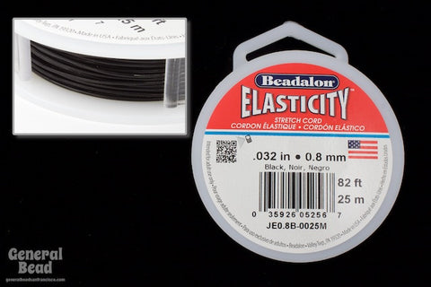 0.8mm Black Elasticity Stretch Cord (By the Yard or 25 Meter Roll) #CDE035-General Bead