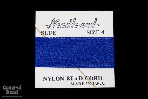 Blue Nylon Size 4 Needle End Bead Cord-General Bead