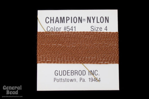 Brown Nylon Size 4 Needle End Bead Cord-General Bead
