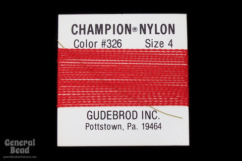 Red Nylon Size 4 Needle End Bead Cord-General Bead