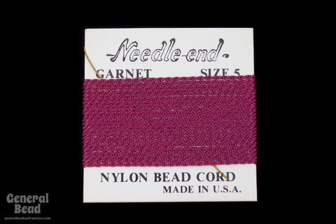 Garnet Nylon Size 5 Needle End Bead Cord-General Bead
