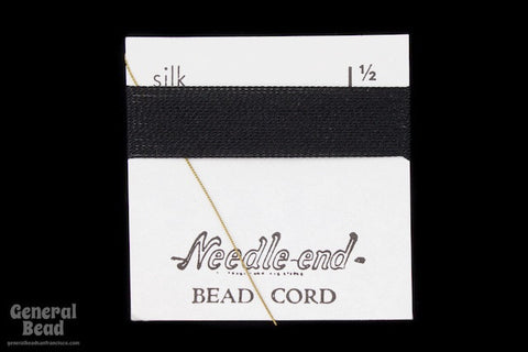 Black Silk Size 1 1/12 Needle End Bead Cord-General Bead