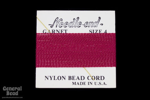 Garnet Nylon Size 4 Needle End Bead Cord-General Bead