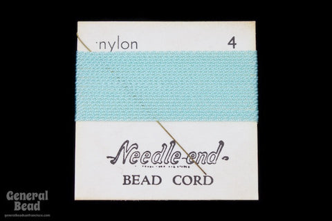 Aqua Nylon Size 4 Needle End Bead Cord-General Bead