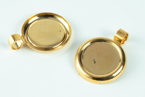 13mm Gold Cabochon Setting #CEB058-General Bead